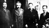 Photo:Einstein and professors in the physics department